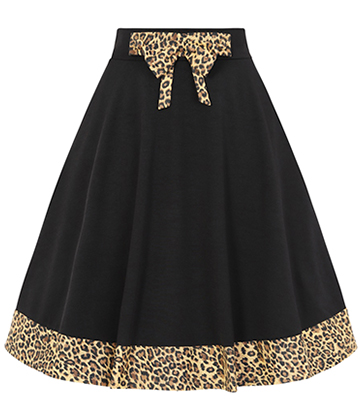 Banned Rockabilly Leopard Skirt (Black)