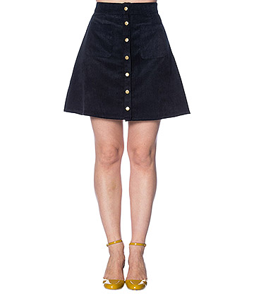 Banned 60s Cord Skirt (Navy)