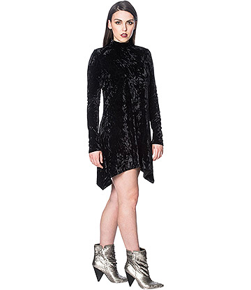 Banned Minimal Goth Velvet Dress (Black)
