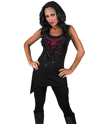 Spiral Direct Blood Rose Goth Camisole Kleid (Schwarz)