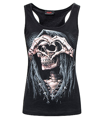 Spiral Direct Dark Love Razor Back Top (Black)