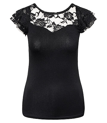 Spiral Direct Goth Elegance Lace Top (Black)
