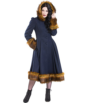 Hell Bunny Robyn Faux Fur Coat (Navy)