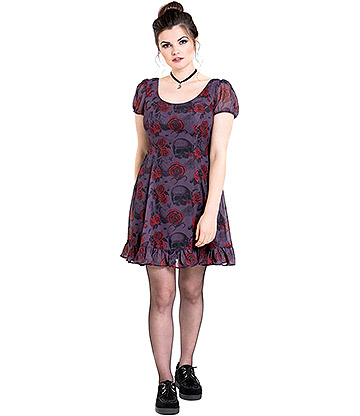 Hell Bunny Bugs & Roses Dress (Purple)