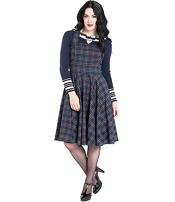 Hell Bunny Peebles Pinafore Dress (Navy)
