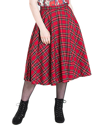 Hell Bunny Irvine 50s Skirt (Red)
