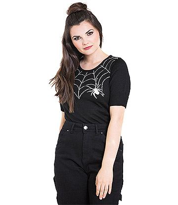 Hell Bunny Black Widow Spider Web Jumper (Black)