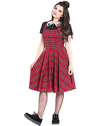Hell Bunny Irvine Pinafore Dress (Red)