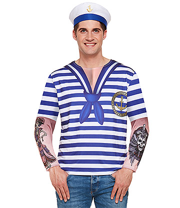 Blue Banana Men's Sailor Costume (Blue/White)