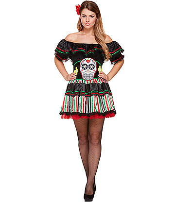 Blue Banana Señorita Day Of The Dead Costume (Multicoloured)