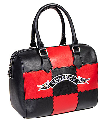 Jawbreaker Unlucky Check Handbag (Black/Red)