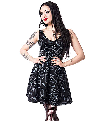 Heartless Crypt Gothic Skater Dress (Black)