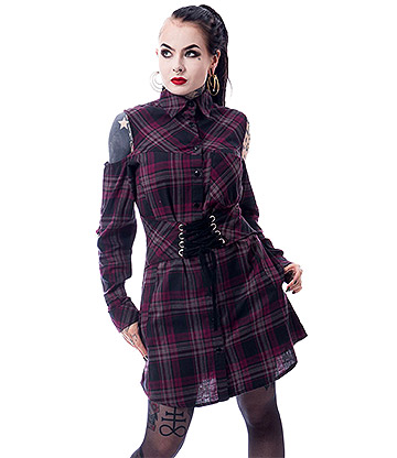 Heartless Tartan Shirt Dress (Purple)