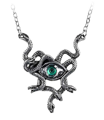 Alchemy Gothic Gorgons Eye Pendant Necklace (Pewter)