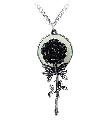 Alchemy Gothic Luna Rose Pendant Necklace (Pewter)