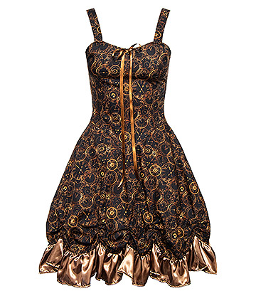 Golden Steampunk Time Clocks Ruched Dress (Brown/Bronze)