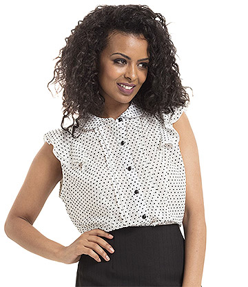 Voodoo Vixen Angelin Polka Dot Blouse (White)