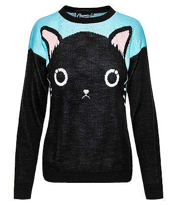 Cosmic Cat Face Jumper (Black/Blue)