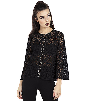 Jawbreaker Ruffling Feathers Lace Hook Top (Black)