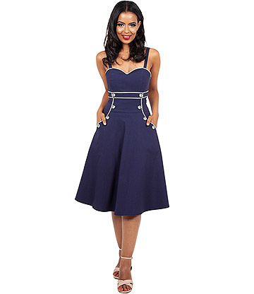 Voodoo Vixen Claudia Nautical Flared Dress (Navy)