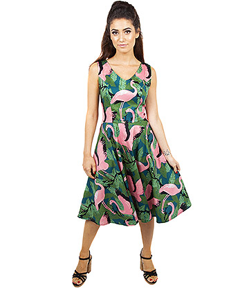 Voodoo Vixen Flamingo Flared Dress (Green/Pink)
