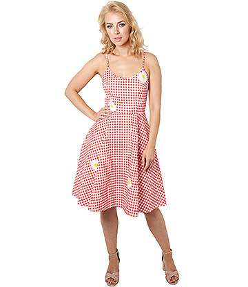 Voodoo Vixen Dolly Gingham Flared Dress (Red)
