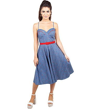 Voodoo Vixen Shelley Cherry & Stripe Dress (Navy)