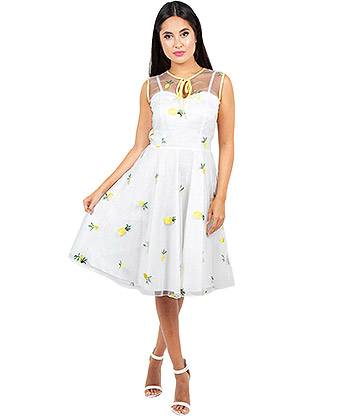 Voodoo Vixen Stacey Pineapple Flared Dress (White)