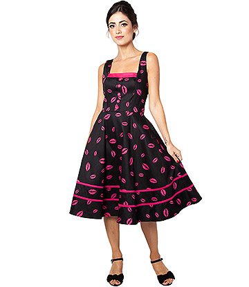 Voodoo Vixen Nicki Lipstick Dress (Black/Pink)