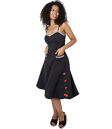 Voodoo Vixen Layla Cherry Daisy Dress (Black)