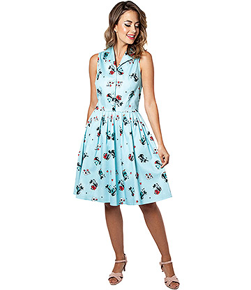 Voodoo Vixen Betty Kitchen Kitty Dress (Blue)