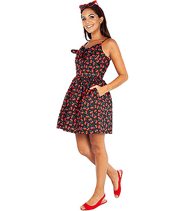 Voodoo Vixen Polly Cherry Bow Dress (Black)