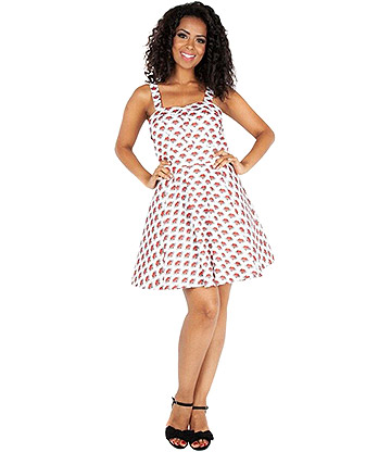 Voodoo Vixen Shelby Love Tattoo Dress (White)