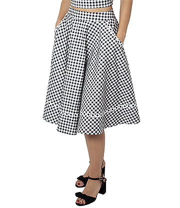 Voodoo Vixen Ava Daisy Trim Gingham Skirt (Black/White)