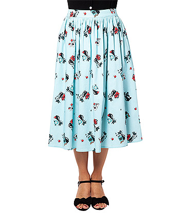 Voodoo Vixen Harper Kitty Flare Skirt (Blue)