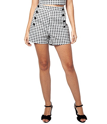 Voodoo Vixen Mila Gingham Checkered Shorts (Black/White)