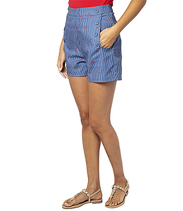 Voodoo Vixen Cherry Striped Sailor Shorts (Blau)