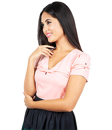 Voodoo Vixen Savannah Bow V Neck Top (Pink)