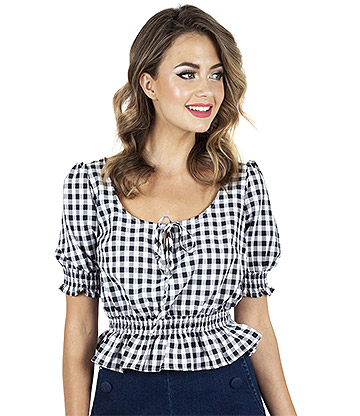 Voodoo Vixen Sadie Gingham Top (Black)