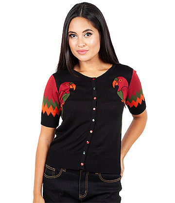 Voodoo Vixen Tropical Bird Wing Sleeve Cardigan (Multicoloured)
