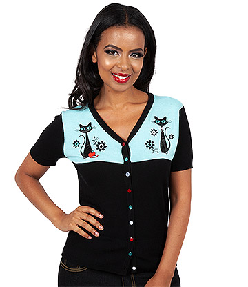 Voodoo Vixen Josehpene Kitchen Kitten Cardigan (Black)