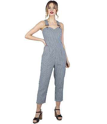Voodoo Vixen Anthea Striped Vintage Jumpsuit (Black/White)