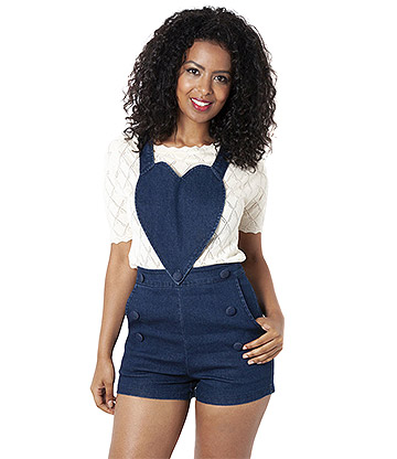 Voodoo Vixen Rosie Heart Denim Playsuit (Blue)