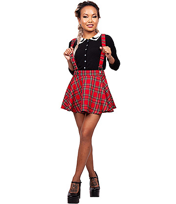 Jawbreaker You Got Plaid Suspender Mini Skirt (Red)