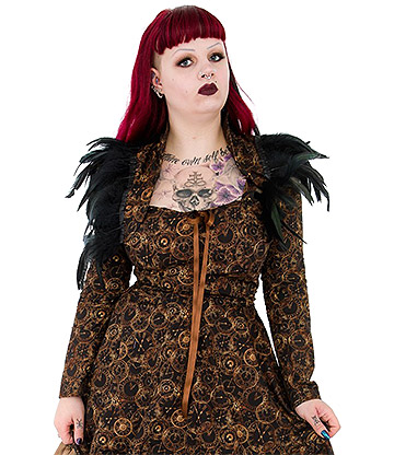 Golden Steampunk Time Clocks Feather Bolero (Multicoloured)