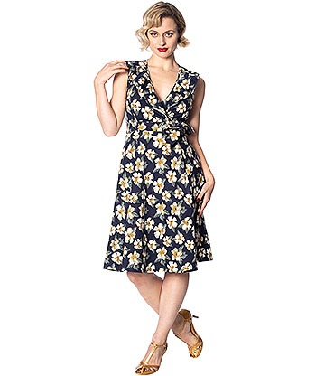 Banned Beach Babe Swing Dress (Navy)