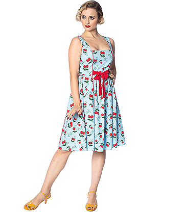 Banned Cherry Rockabilly Dress (Blue)