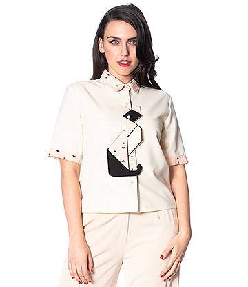 Banned Geo Cat Blouse (White)