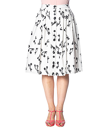 Banned Cherry Pop Front Button Skirt (White)