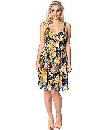 Banned Paradise Rockabilly Dress (Yellow)